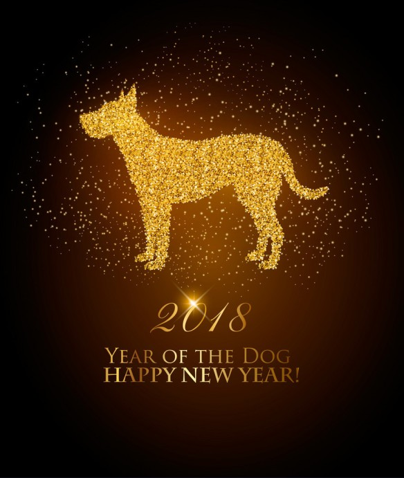 Happy New Year 2018 background. Year of the Yellow Dog concept. Vector